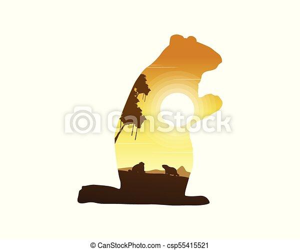 silhouettes, coucher soleil, marmotte, paysage - csp55415521