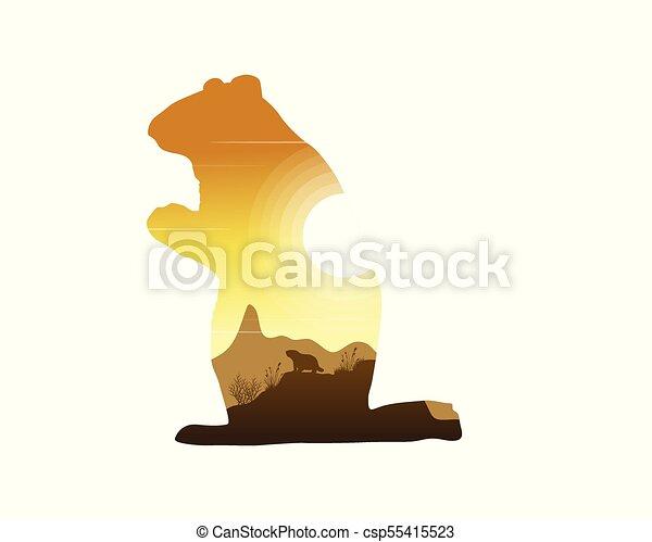 silhouettes, coucher soleil, marmotte, paysage - csp55415523