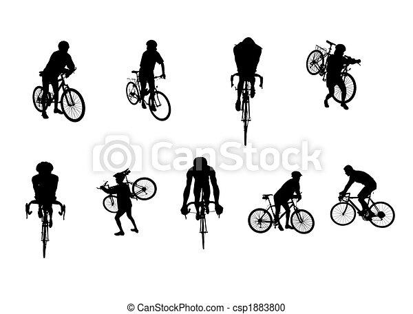 silhouettes, cyclisme, isolé - csp1883800