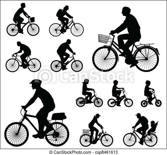 Silhouettes cyclistes silhouettes vecteur - Cycliste dessin ...