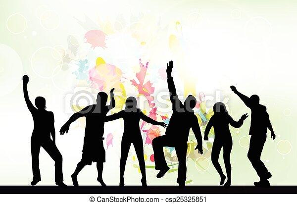 silhouettes, danse, gens arrière-plan - csp25325851