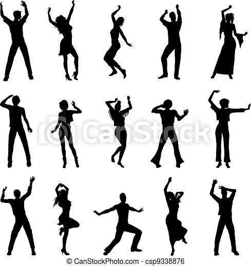 silhouettes, danse, gens - csp9338876