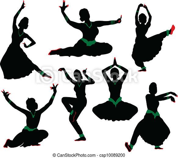 silhouettes, danseur, indien - csp10089200