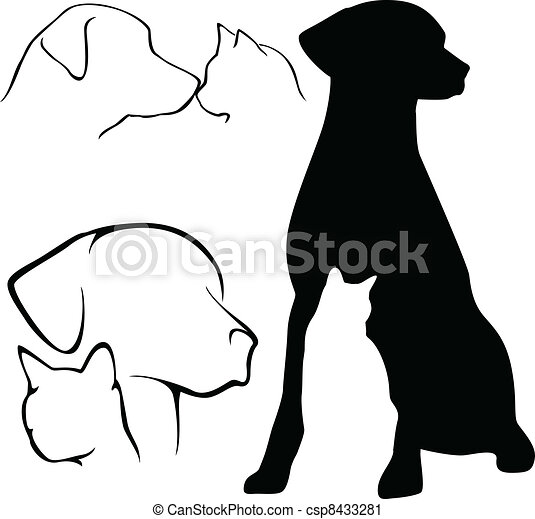 silhouettes, &, dog, kat - csp8433281