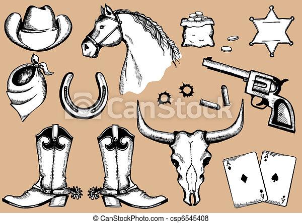 silhouettes, eelements, life., vecteur, cow-boy - csp6545408