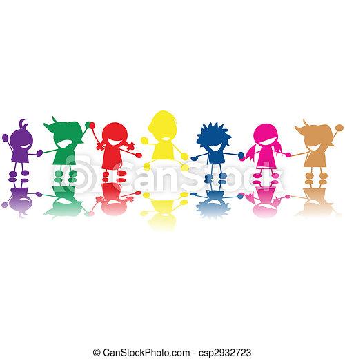 silhouettes, enfants - csp2932723