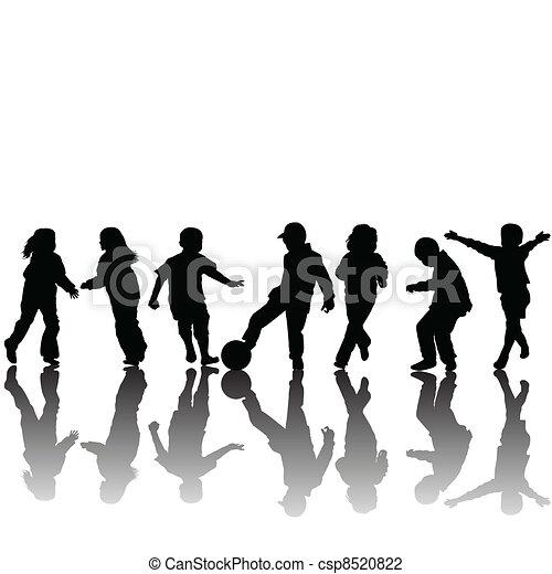 silhouettes, enfants - csp8520822
