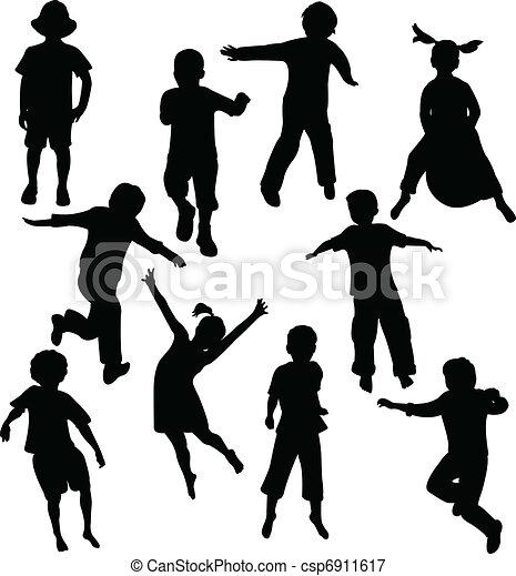 silhouettes, enfants - csp6911617