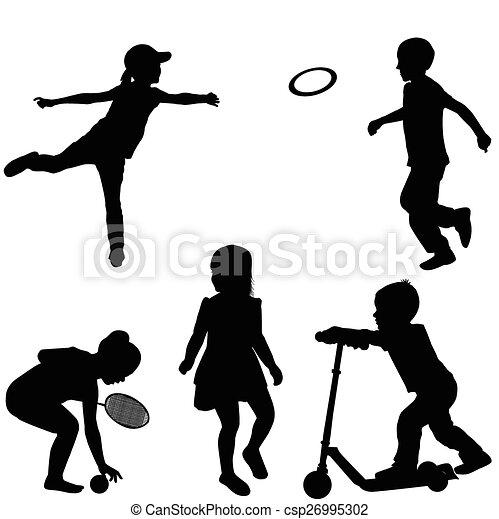 silhouettes, enfants jouer - csp26995302