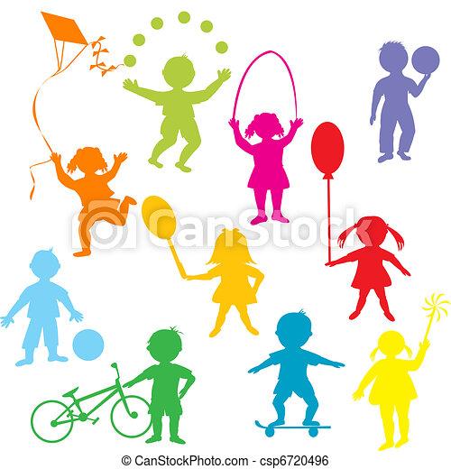 silhouettes, enfants jouer, coloré - csp6720496