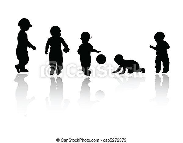 silhouettes, -, enfants - csp5272373