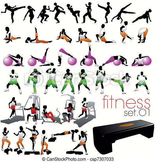 silhouettes, ensemble, 40, fitness - csp7307033