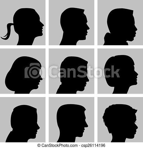 silhouettes, ensemble, camée - csp26114196