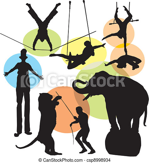 silhouettes, ensemble, cirque - csp8998934