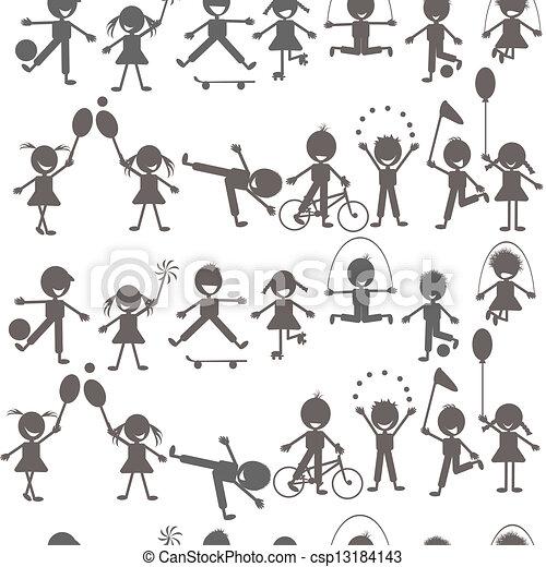 silhouettes, ensemble, enfants jouer - csp13184143