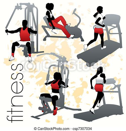 silhouettes, ensemble, fitness - csp7307034