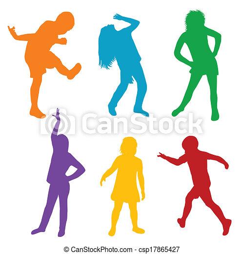 silhouettes, ensemble, jouer, coloré, enfants - csp17865427
