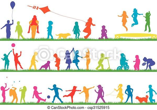 silhouettes, extérieur, enfants jouer, coloré - csp31525915