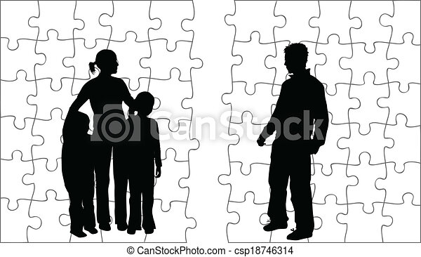 silhouettes, famille - csp18746314
