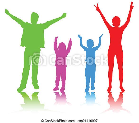 silhouettes, famille, heureux - csp21410907