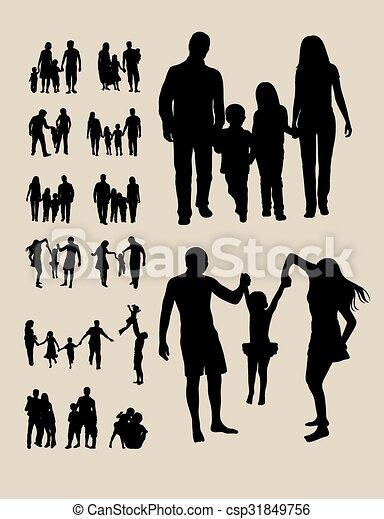 silhouettes, famille, heureux - csp31849756