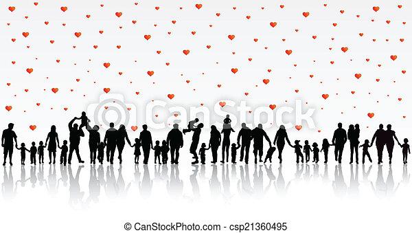 silhouettes, famille, heureux - csp21360495