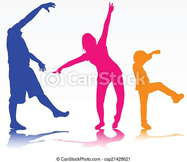 silhouettes, famille, heureux - csp21428621