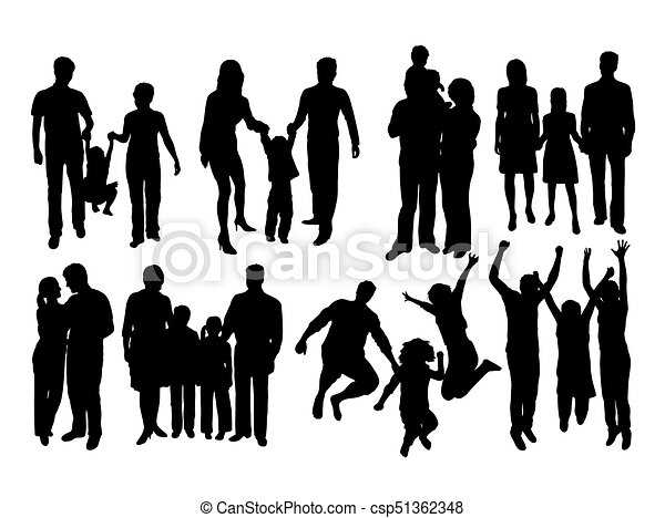 silhouettes, famille, heureux - csp51362348