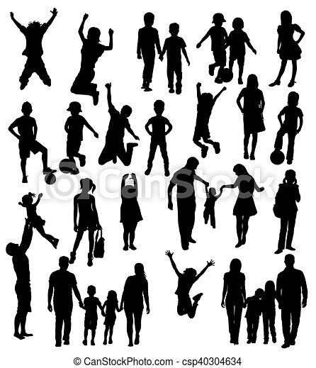 silhouettes, famille, heureux - csp40304634