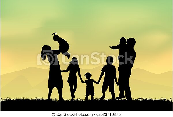 silhouettes, famille - csp23710275