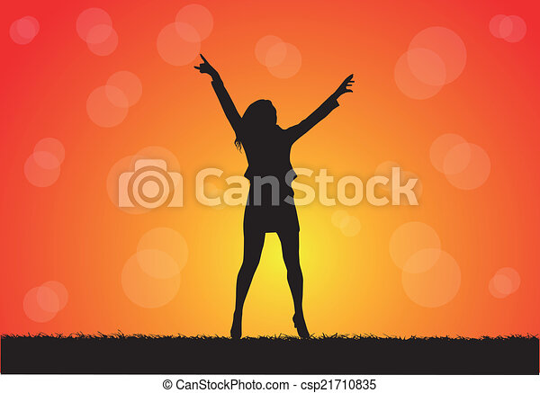silhouettes, femmes - csp21710835