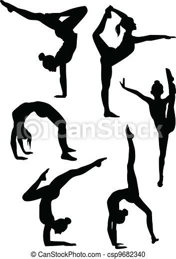 silhouettes, filles, gymnastes - csp9682340