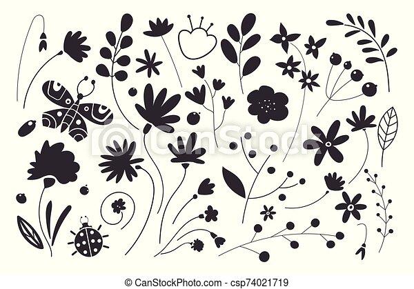 silhouettes, fleurs, noir, arrière-plan., ensemble, feuille, blanc, leaves. - csp74021719