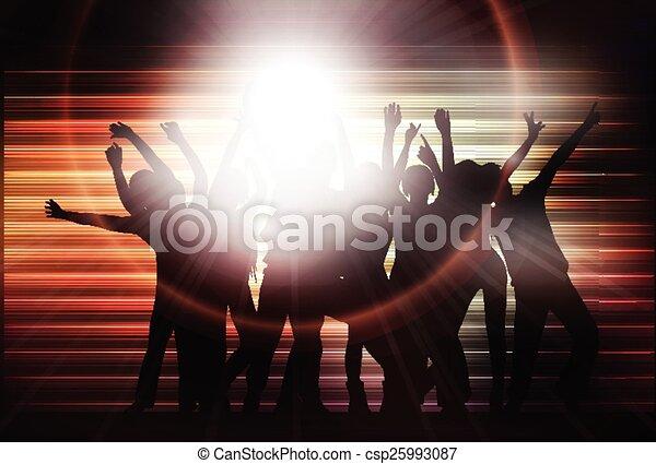 silhouettes, gens, danse, heureux - csp25993087