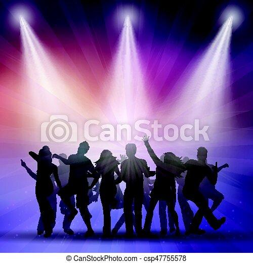 silhouettes, gens, danse - csp47755578