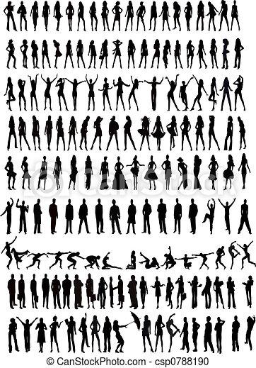 silhouettes, gens - csp0788190