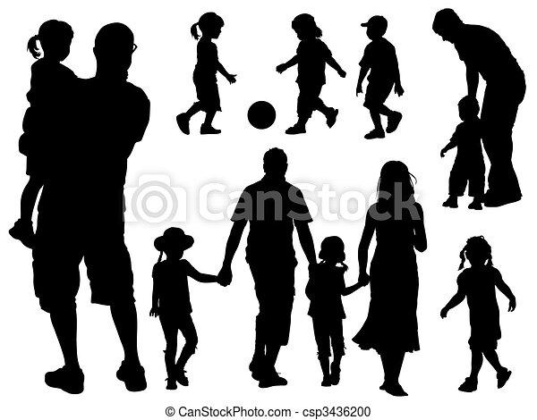 silhouettes, gezin - csp3436200