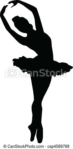 silhouettes, girl, danse, ballet - csp4589768