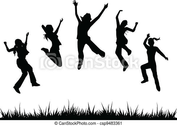 silhouettes, gosses, sauter - csp9483361