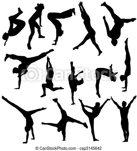 silhouettes, gymnastique, collection - csp3145642
