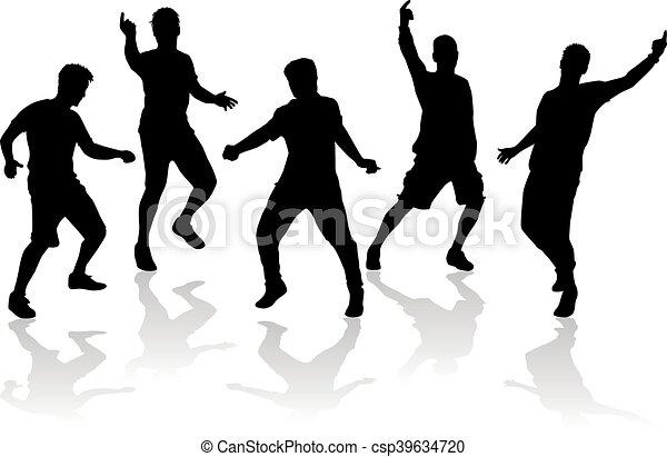 silhouettes., hím, tánc - csp39634720