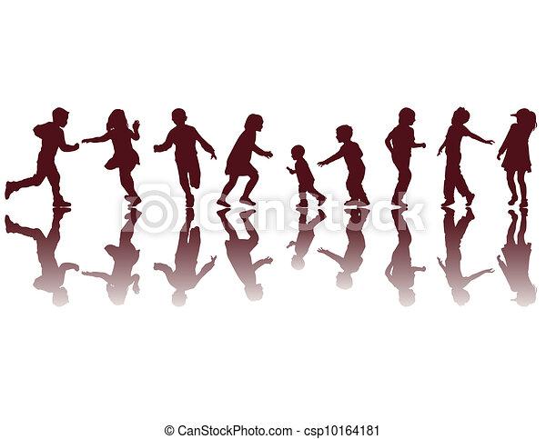 silhouettes, heureux, enfants - csp10164181