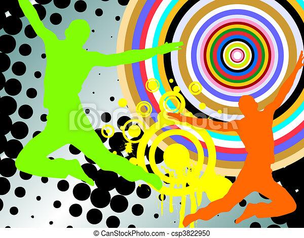 silhouettes, heureux, gens - csp3822950
