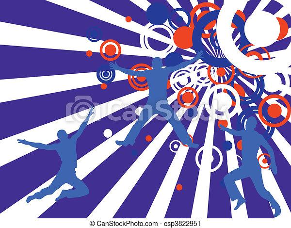 silhouettes, heureux, gens - csp3822951