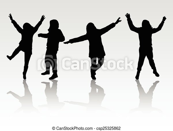 silhouettes, heureux, gens - csp25325862