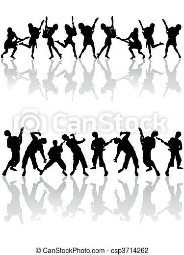 silhouettes, heureux, gens - csp3714262