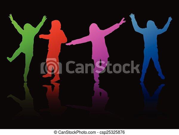 silhouettes, heureux, gens - csp25325876