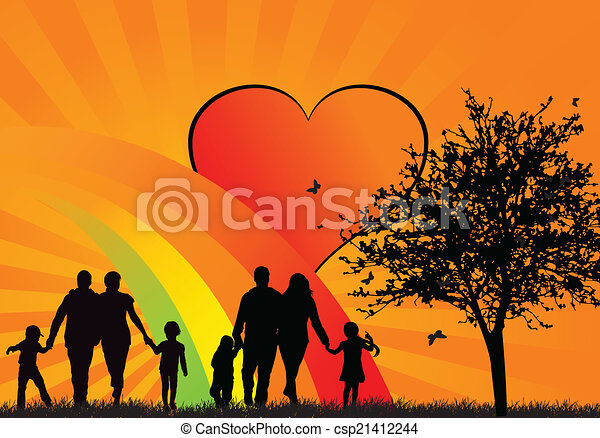silhouettes, heureux, gens - csp21412244