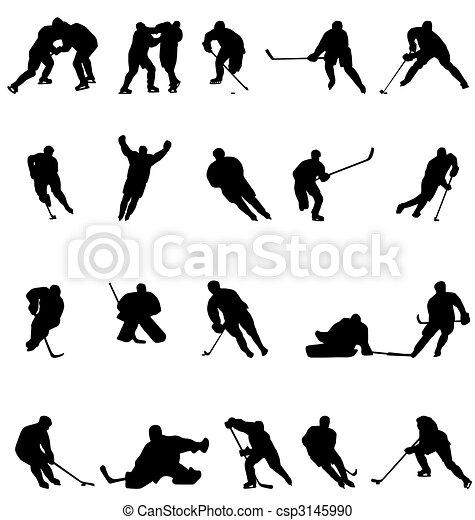 silhouettes, hockey, verzameling - csp3145990