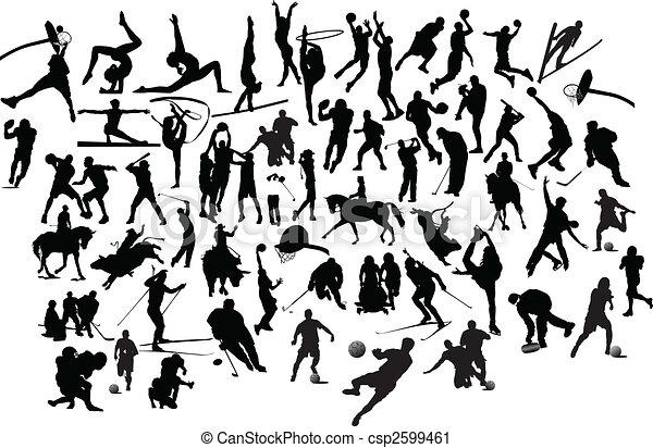 silhouettes., illustration, vektor, svart, kollektion, vit, sport - csp2599461
